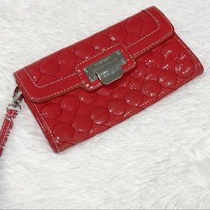 Red Quilted Nine West Wallet Clutch Wristlet